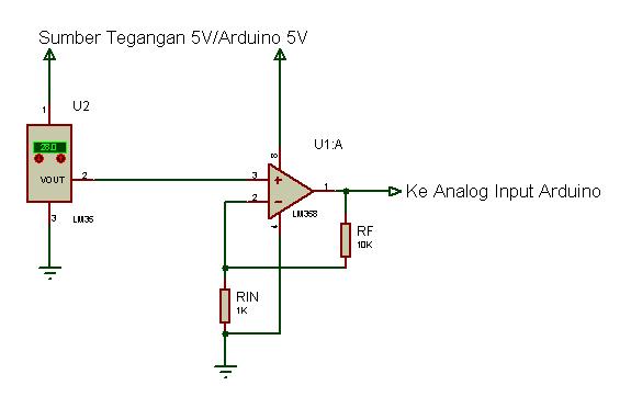 skema lm35 dengan penguatan lm358